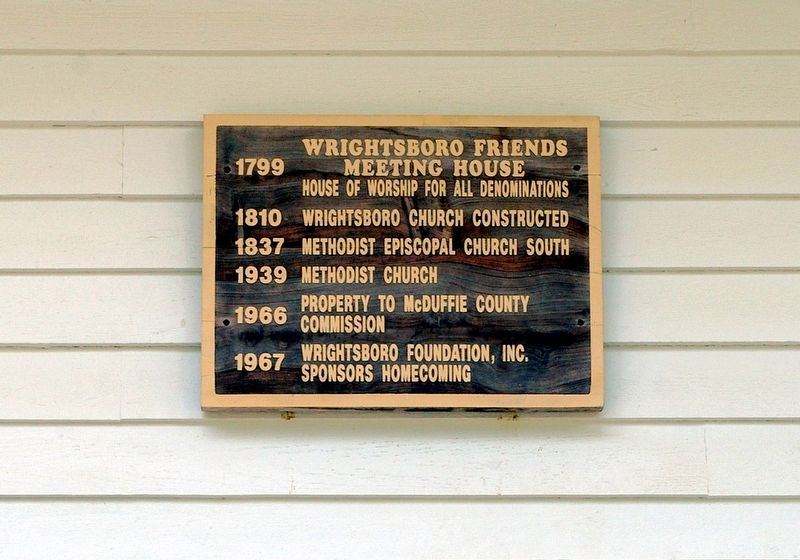 Wrightsboro Friends Meeting House Marker image. Click for full size.