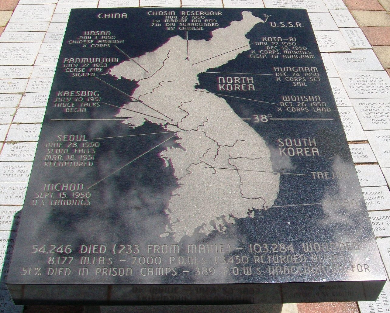 Maine Korean War Memorial Map