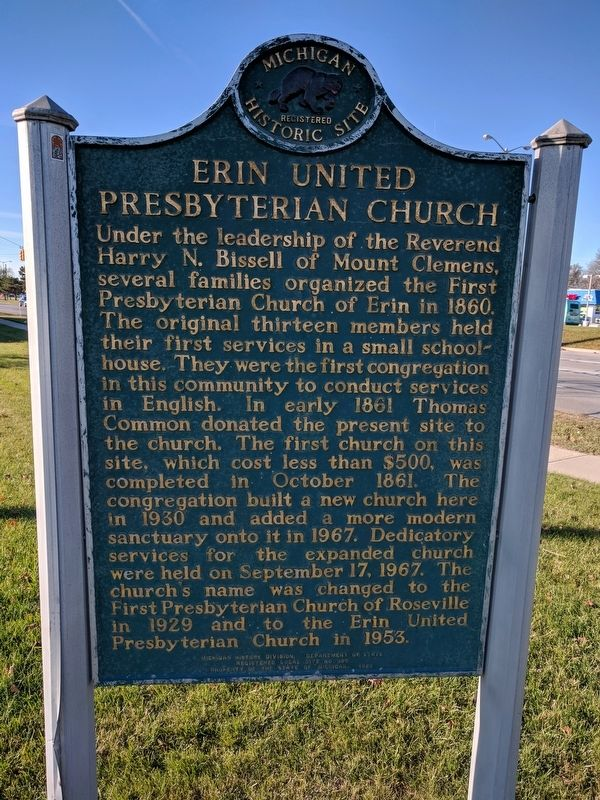 Erin United Presbyterian Church Marker image. Click for full size.