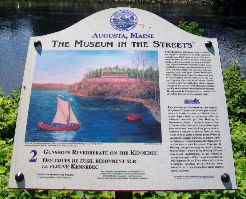 Gunshots Reverberate on the Kennebec / Des coups de fusil résonnent sur le fleuve Kennebec Marker image. Click for full size.