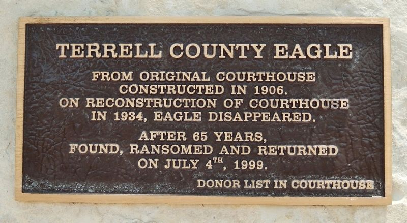 Terrell County Eagle Marker image. Click for full size.