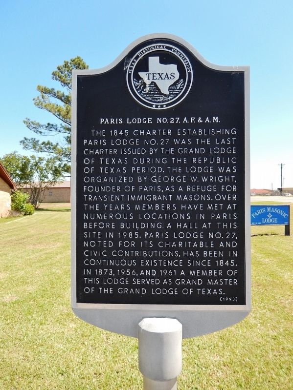 Paris Lodge No. 27, A.F. & A.M. Marker image. Click for full size.