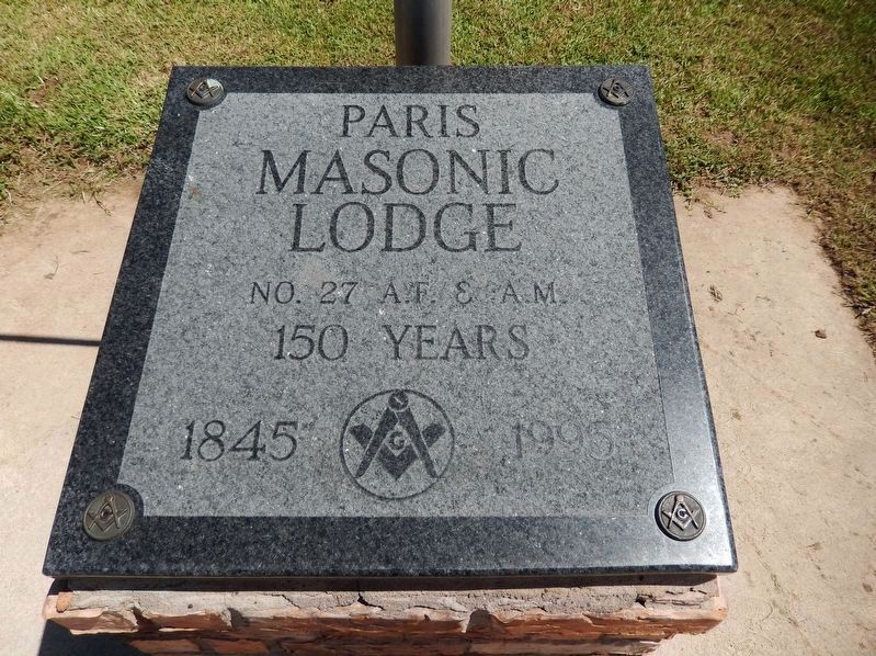 Paris Masonic Lodge Sesquecentennial Tablet image. Click for full size.