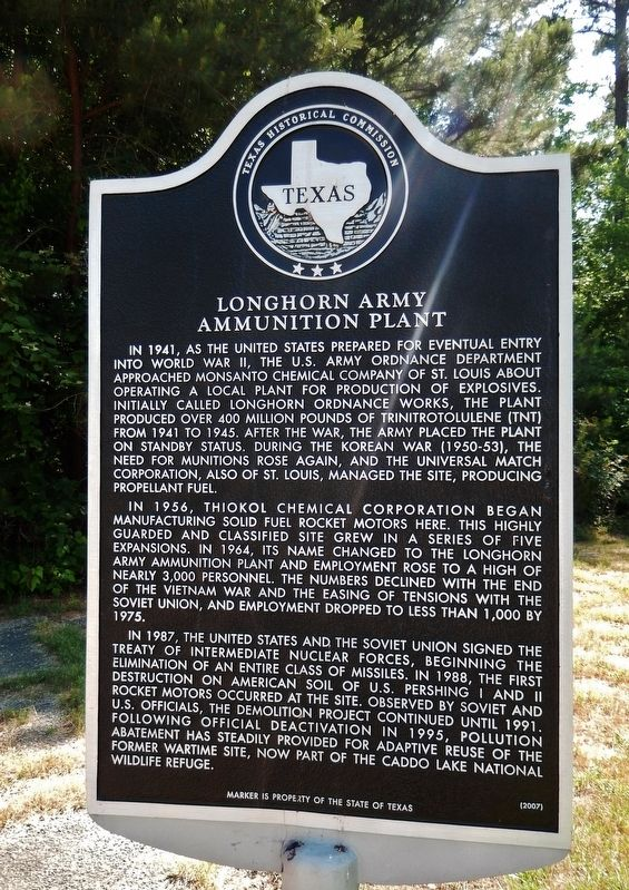 Longhorn Army Ammunition Plant Marker image. Click for full size.