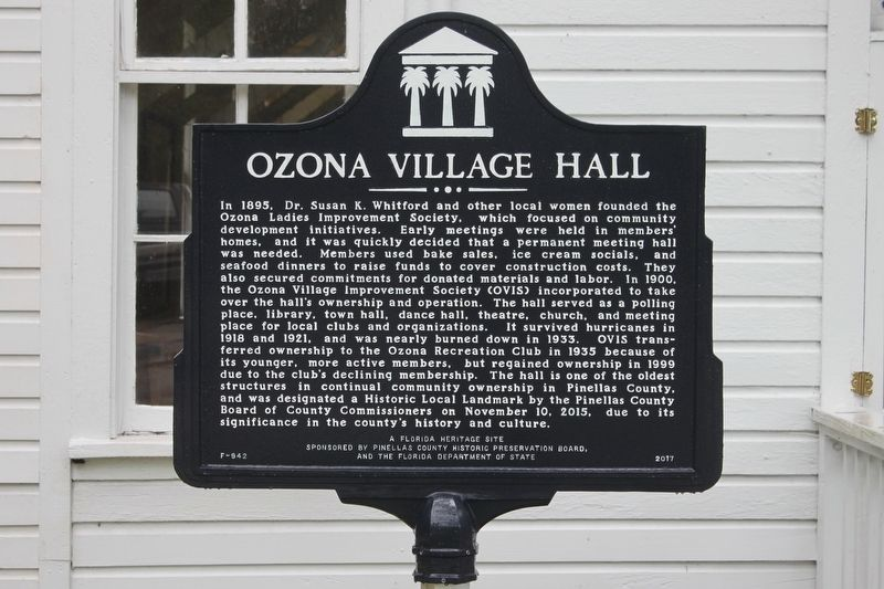 Ozona Village Hall Marker image. Click for full size.