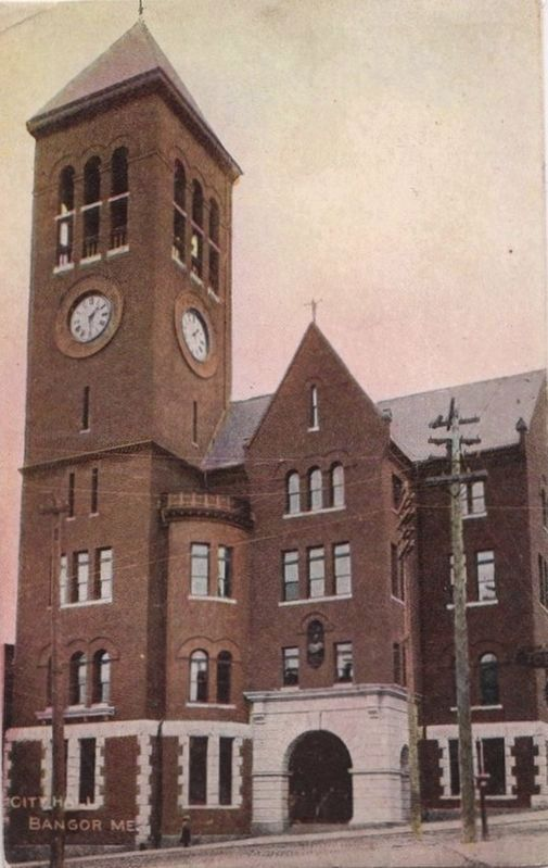 <i>City Hall, Bangor, ME.</i> - former home of the Hersey Memorial Building Bell image. Click for full size.