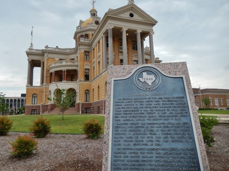 Harrison County Marker (<i>wide view; former Harrison County Courthouse in background</i>) image. Click for full size.