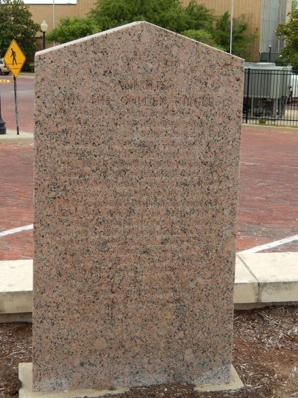 General Elkanah Greer / Knights of the Golden Circle Marker (<i>back side</i>) image. Click for full size.