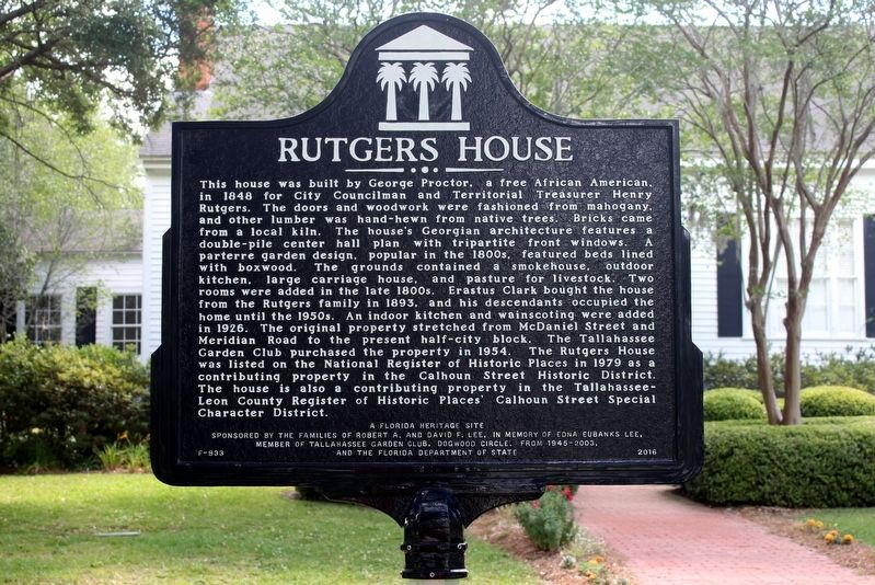 Rutgers House/Tallahassee Garden Club Center Marker Side 1 image. Click for full size.