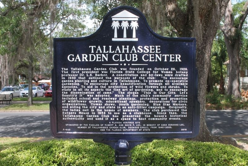 Rutgers House/Tallahassee Garden Club Center Marker Side 2 image. Click for full size.