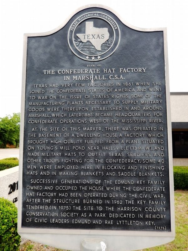 Confederate Hat Factory in Marshall, C.S.A. Marker image. Click for full size.