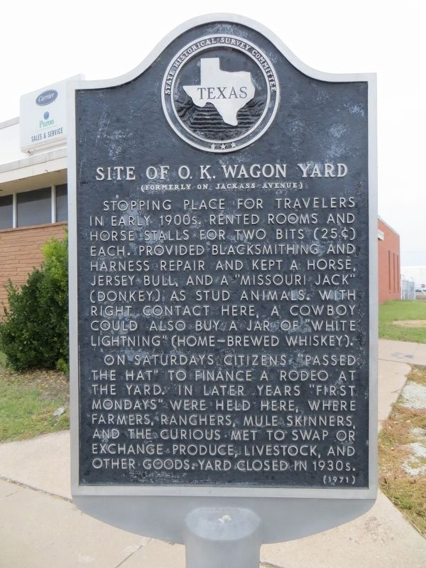 Site of O.K. Wagon Yard Marker image. Click for full size.