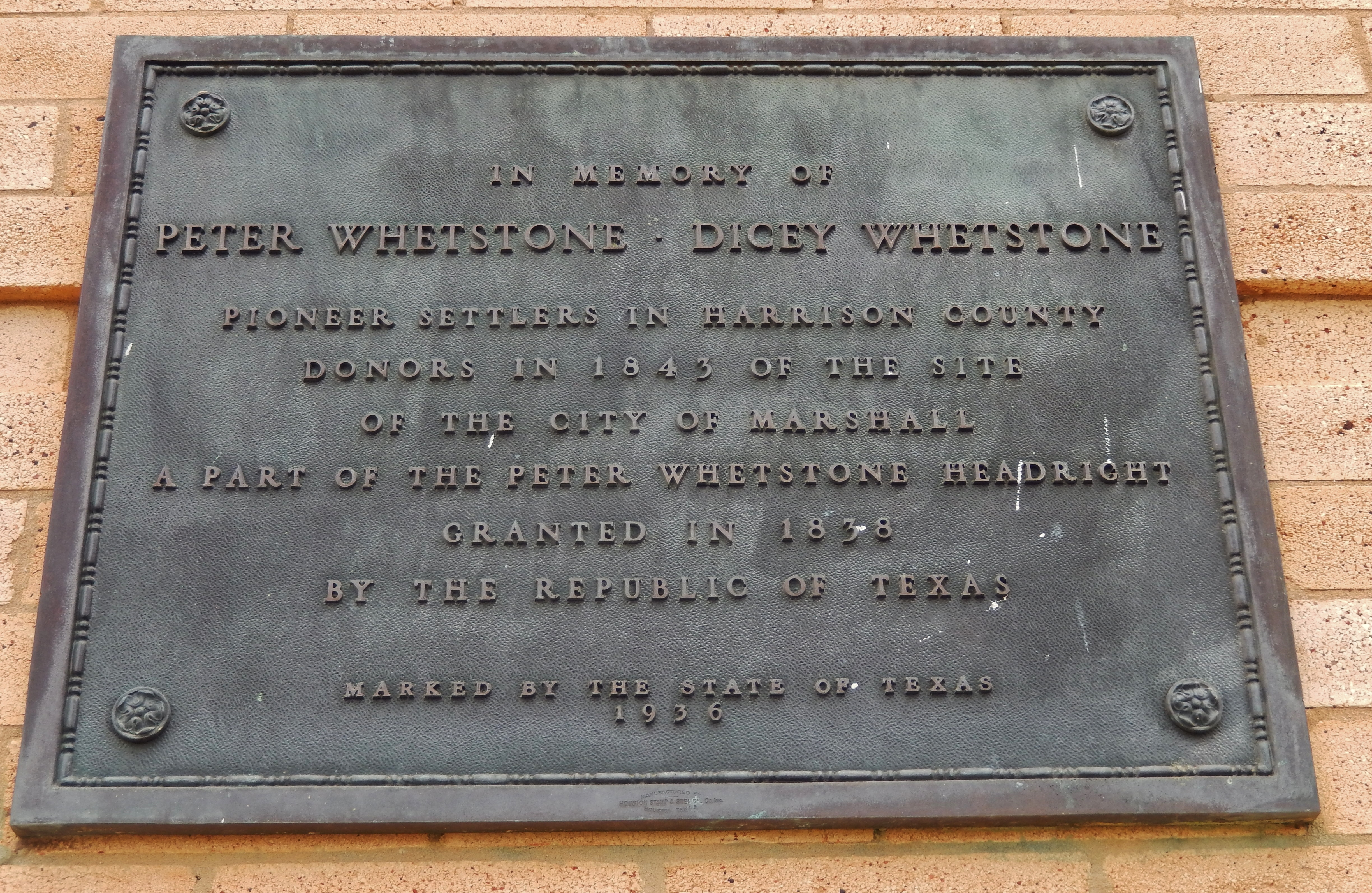 Whetstone Memorial Tablet (<i>mounted on courthouse wall behind marker</i>)