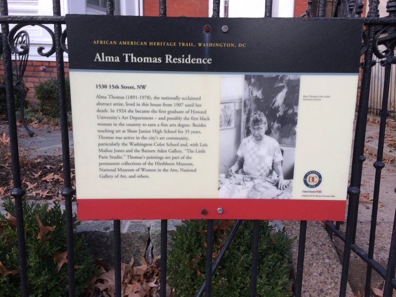 Alma Thomas Residence Marker image. Click for full size.