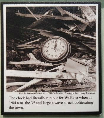 Waiakea Social Settlement Clock as found in the rubble. image. Click for full size.