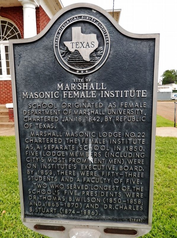 Site of Marshall Masonic Female Institute Marker image. Click for full size.