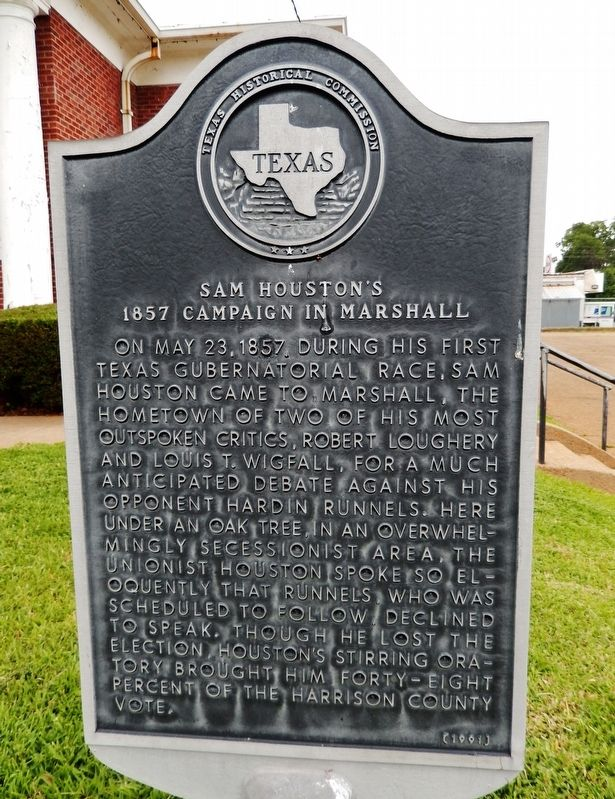 Sam Houston's 1857 Campaign in Marshall Marker image. Click for full size.