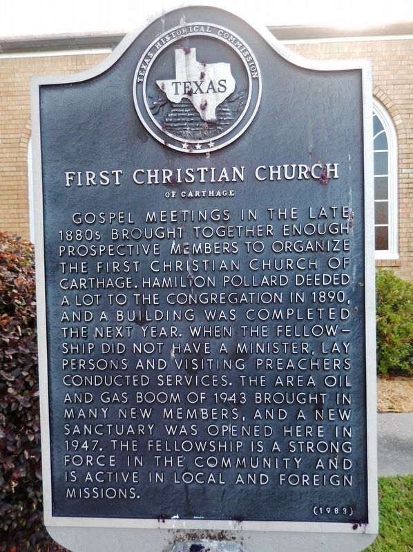 First Christian Church of Carthage Marker image. Click for full size.