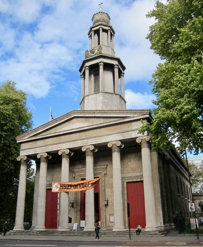Saint Pancras Parish Church and Marker - Wide View image. Click for full size.
