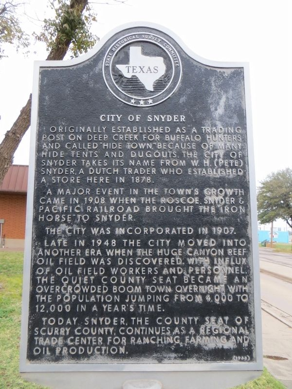 City of Snyder Marker image. Click for full size.