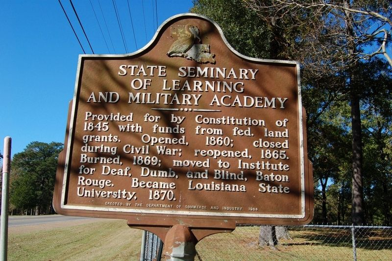State Seminary of Learning and Military Academy Marker image. Click for full size.