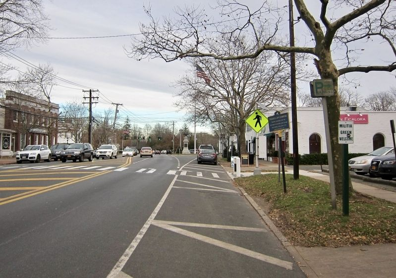 Triangular Commons Marker - Wide View, Looking East on Montauk Highway image. Click for full size.