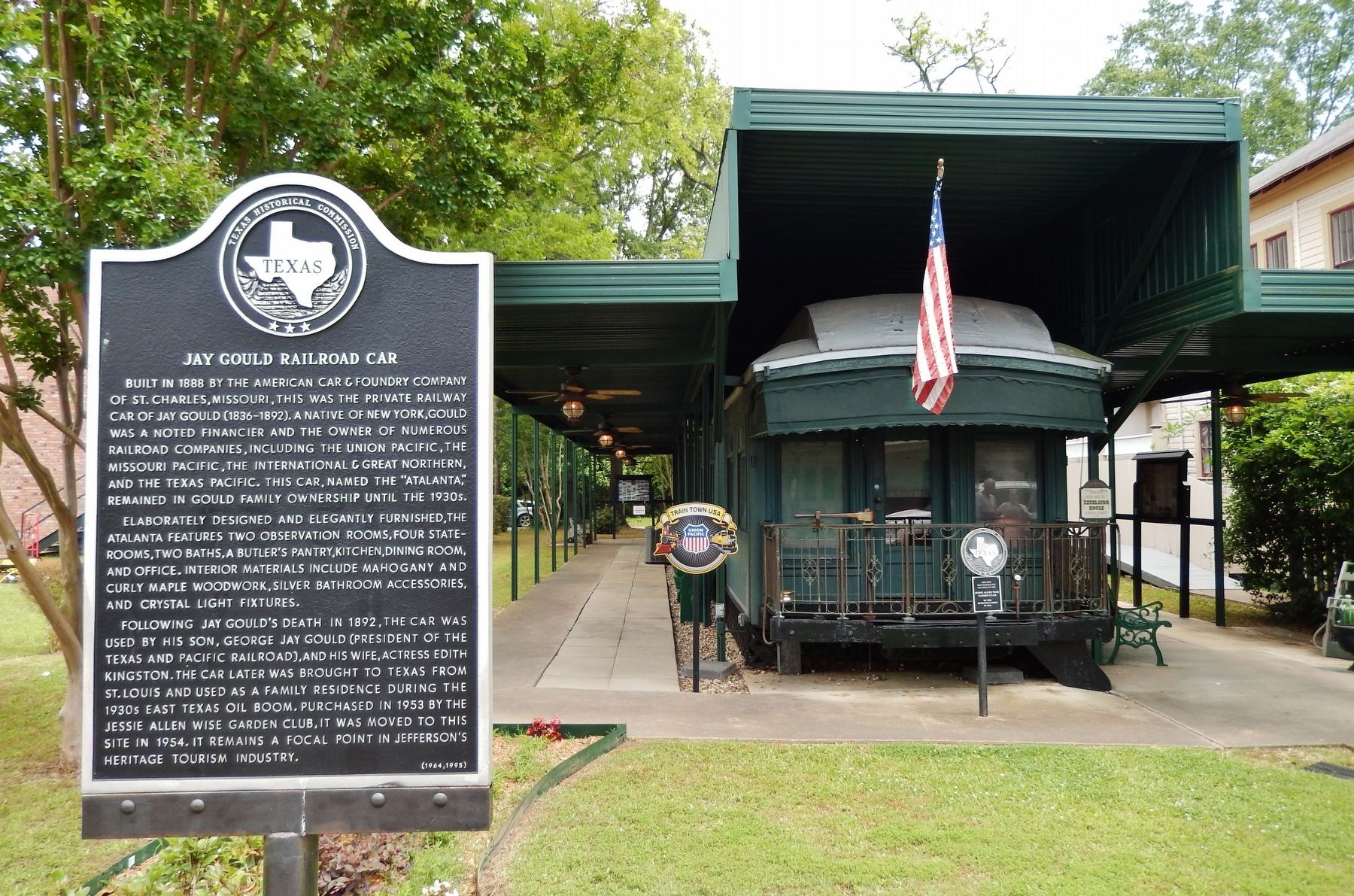 Jay Gould Railroad Car Marker (<i>wide view</i>) image. Click for full size.