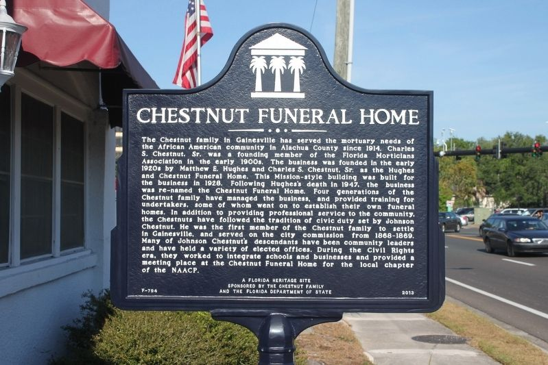 Chestnut Funeral Home Marker image. Click for full size.