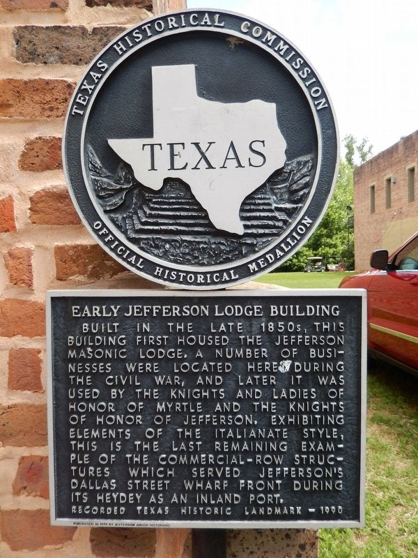 Early Jefferson Lodge Building Marker image. Click for full size.