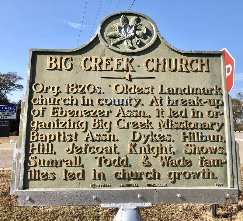 Big Creek Church Marker image. Click for full size.
