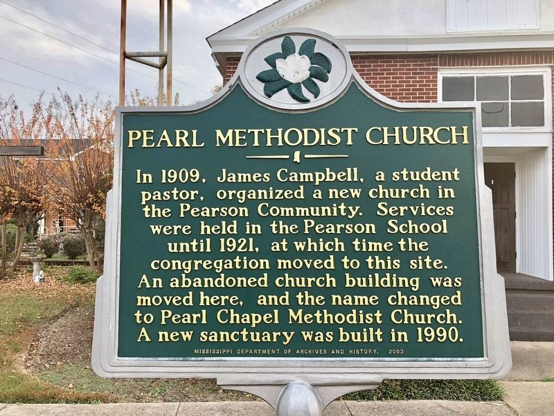 Pearl Methodist Church Marker image. Click for full size.