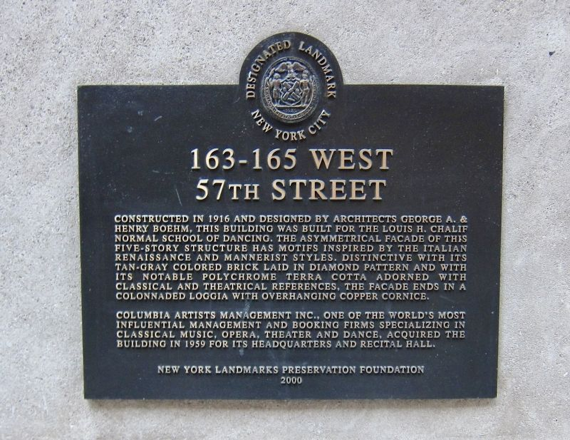 163-165 West 57th Street Marker image. Click for full size.