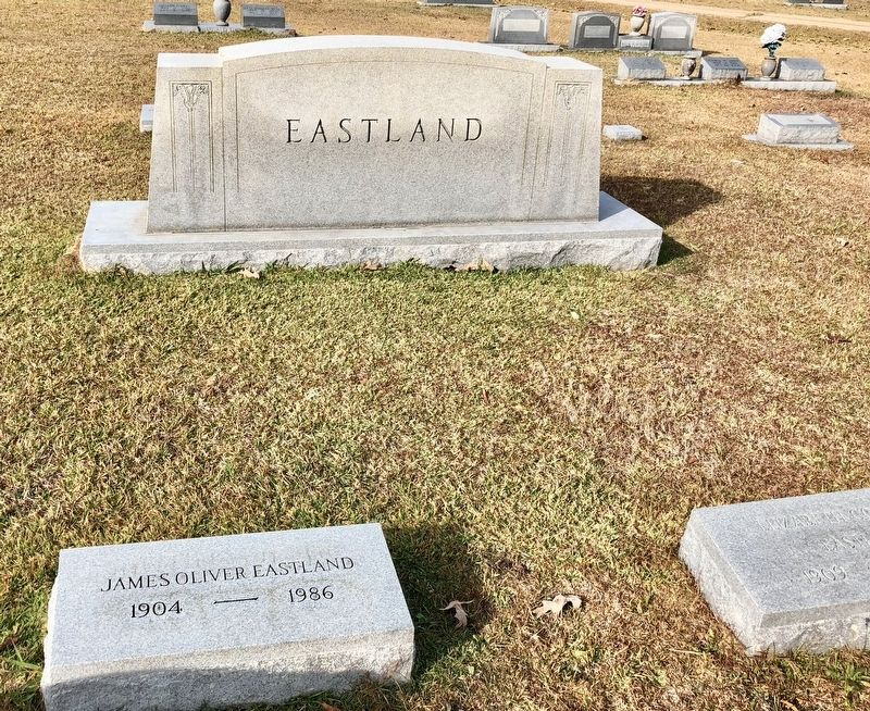 James Oliver Eastland grave on bottom left, not far from marker. image. Click for full size.