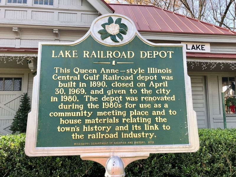 Lake Railroad Depot Marker image. Click for full size.