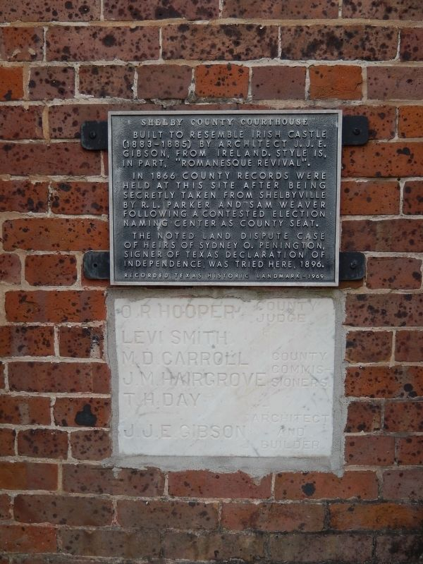 Shelby County Courthouse Marker (<i>tall view showing cornerstone below marker</i>) image. Click for full size.