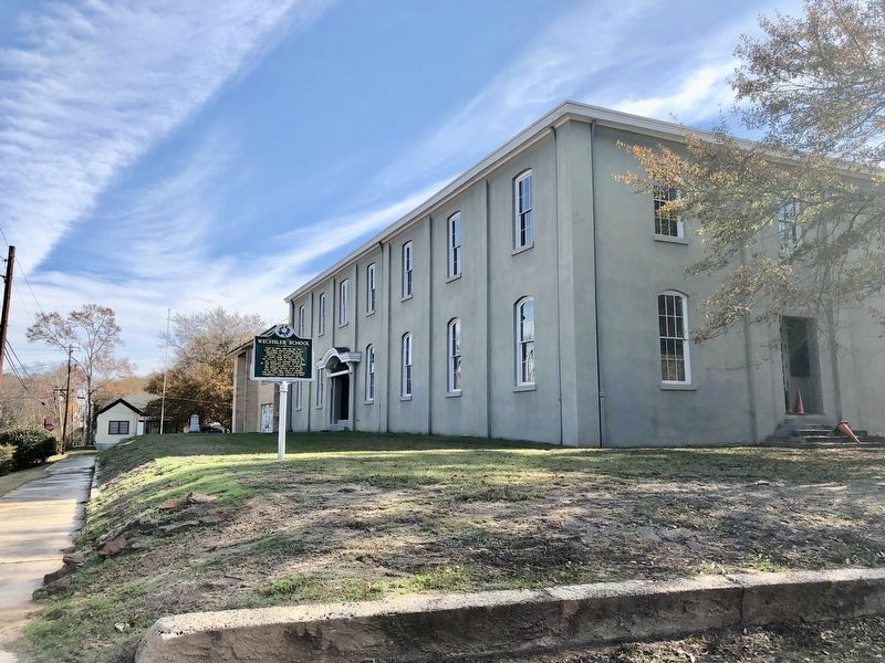 View of the former Wechsler School and the marker. image. Click for full size.