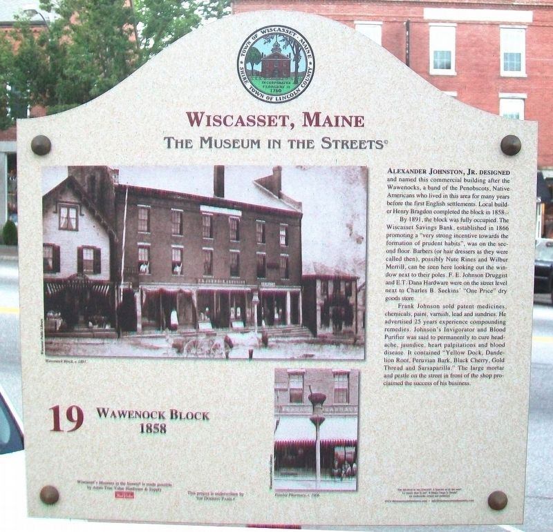 Wawenock Block • 1858 Marker image. Click for full size.