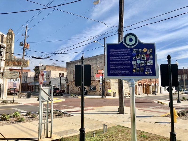 View of marker and the former Business District. image. Click for full size.