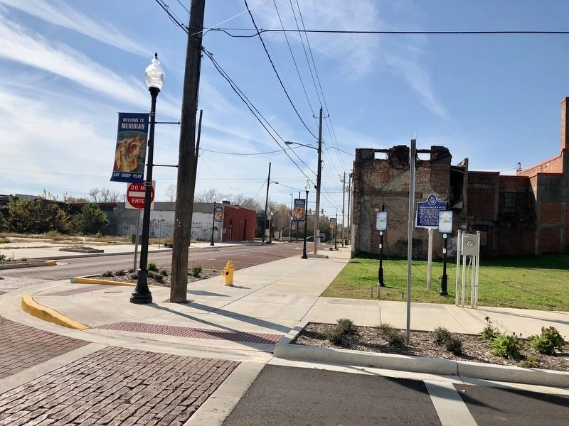 View of marker looking west on remodeled 5th Street. image. Click for full size.