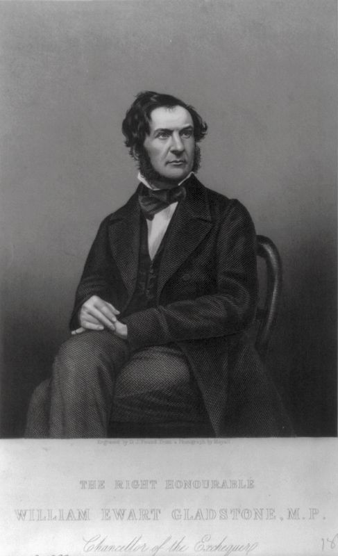 <i>William Ewart Gladstone, 1809-1898, three-quarters length, seated, facing right</i> image. Click for full size.
