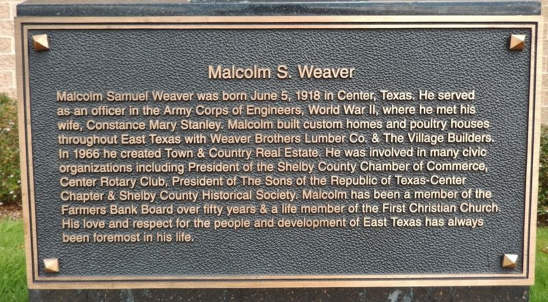Malcolm S. Weaver Marker image. Click for full size.