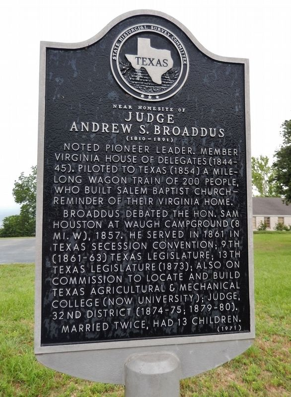 Near Homesite of Judge Andrew S. Broaddus Marker image. Click for full size.