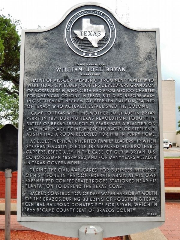Town Named for William Joel Bryan Marker image. Click for full size.