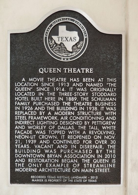 Queen Theater Marker image. Click for full size.