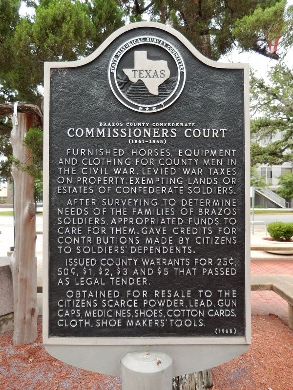 Brazos County Confederate Commissioners Court Marker image. Click for full size.