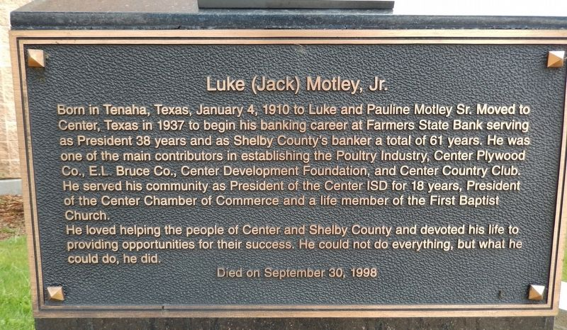 Luke (Jack) Motley, Jr. Marker image. Click for full size.