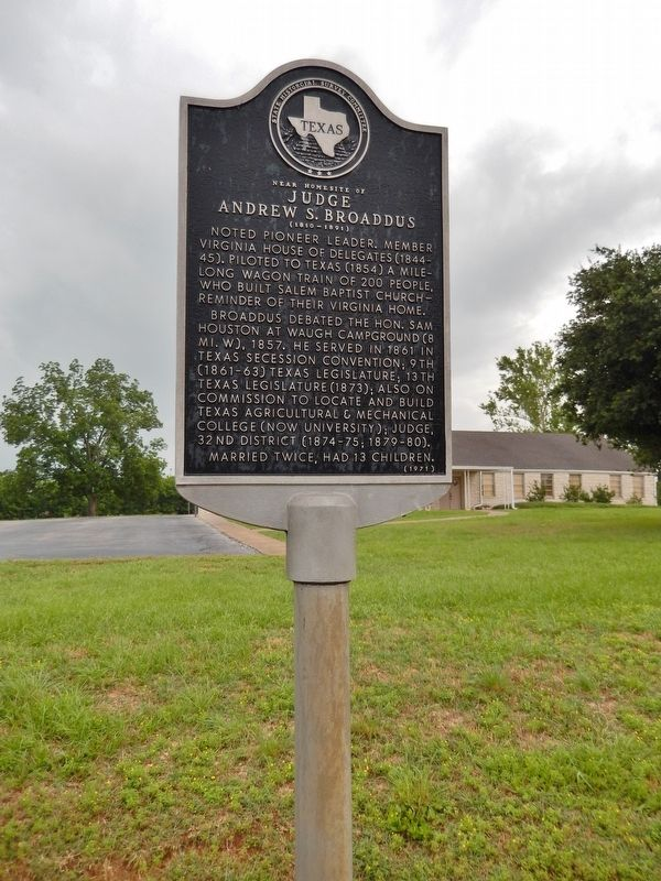 Near Homesite of Judge Andrew S. Broaddus Marker (<i>tall view</i>) image. Click for full size.