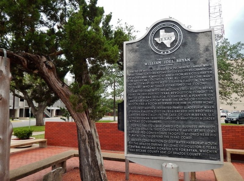 Town Named for William Joel Bryan Marker (<i>wide view; Brazos County Courthouse in background</i>) image. Click for full size.