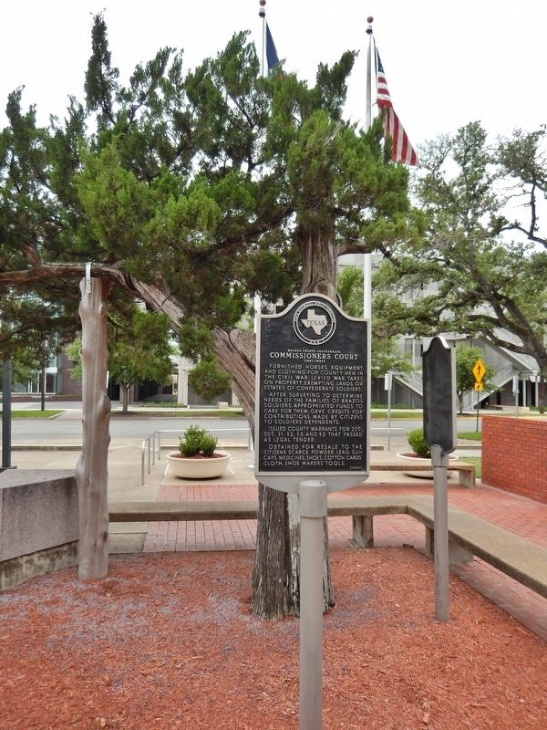 Brazos County Confederate Commissioners Court Marker (<i>tall view</i>) image. Click for full size.