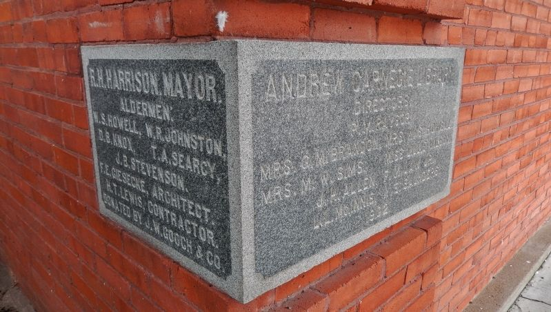Carnegie Public Library: 1902 Cornerstone image. Click for full size.